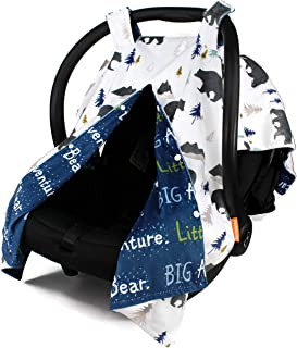 Dear Baby Gear Deluxe Reversible Car Seat Canopy, Custom Minky Print, Big Adventure Little Bear and Grey Bears in Trees
