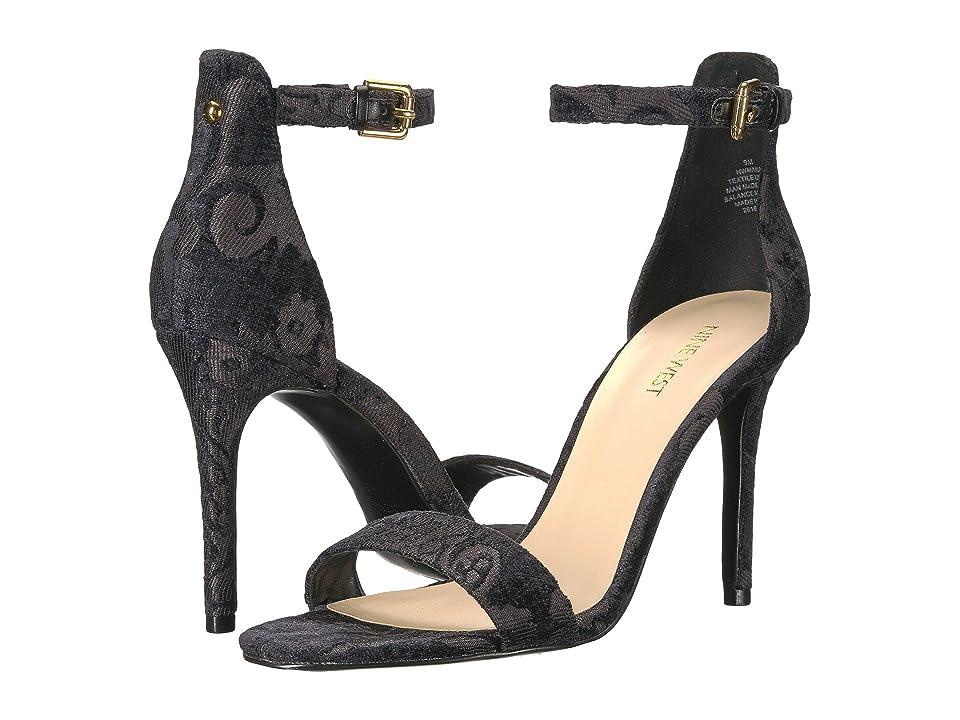 Nine West Mana Stiletto Heel Sandal (Black Fabric) High Heels