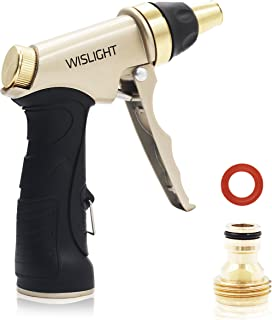 Spray Nozzle for Garden Hose, Brass Tip Garden Hose Nozzle - Leak-Proof High Pressure Metal Water Nozzle Sprayer - Spray Gun, Ergonomic Trigger with Hand Free Lock, for Washing Cleaning Watering
