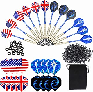 Roobeeo Soft Tip Darts 12 PCS 18g Plastic Tip Darts Set with Brass Steel Barrels&Aluminum Shafts,200 Extra Dart Tips,16 Dart Flights,18 Extra Rubber Rings and 1 Storage Bag for Electronic Dart Board