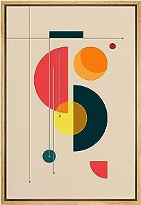 SIGNLEADER Framed Canvas Print Wall Art Semi Circle Midcentury Art Geometric Shapes Illustrations Modern Art Contemporary Fun Multicolor Ultra for Living Room, Bedroom, Office - 16