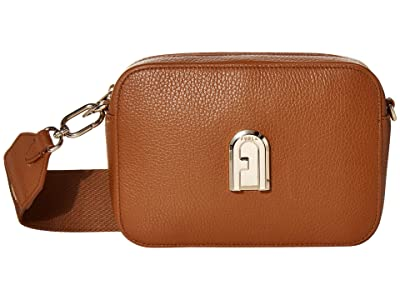 Furla Sleek Mini Camera Case (Cognac) Handbags