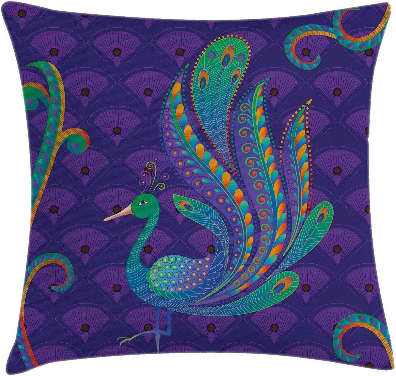 Cushion Cover 18x18 Sofa Pillow for Home Decor Ethnic Pillow Cover Peacock Art