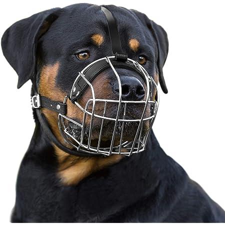 BronzeDog Dog Muzzle Wire Basket Rottweiler Adjustable Leather Straps