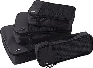 AmazonBasics 4 Piece Packing Travel Organizer Cubes Set - Black