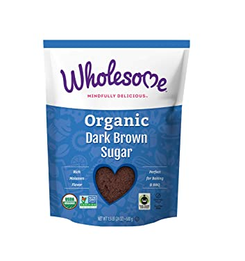 Azúcar moreno oscuro orgánico, comercio justo, sin transgénicos y sin gluten, 1.5 libras (paquete de 6)