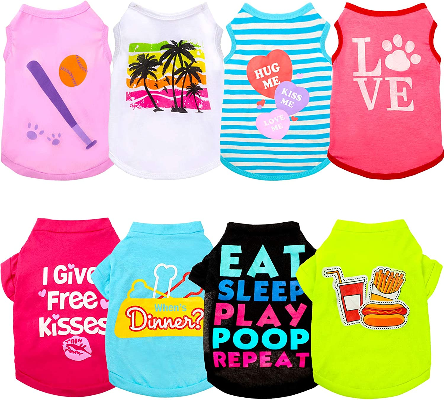 8 Pieces Printed Puppy Rare Dog Pu Breathable outlet Shirts Soft Apparel