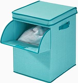 iDesign 07833EU Panier, Grande Caisse mélange Coton et Polyester à 2 poignées, clapet et Couvercle, boîte de Rangement Pli...