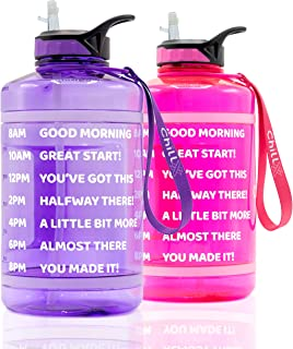 ChillXX Large Motivational Water Bottle with Time Markings (2.2 Litre) - Daily Drink Bottle with Straw - Time Marker by th...