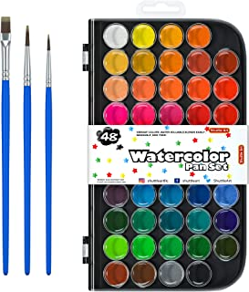 48 Colors Watercolor Paint Set, Shuttle Art Watercolor Pan Set with 3 Paint Brushes Easy to Blend Colors, Non-Toxic Perfec...
