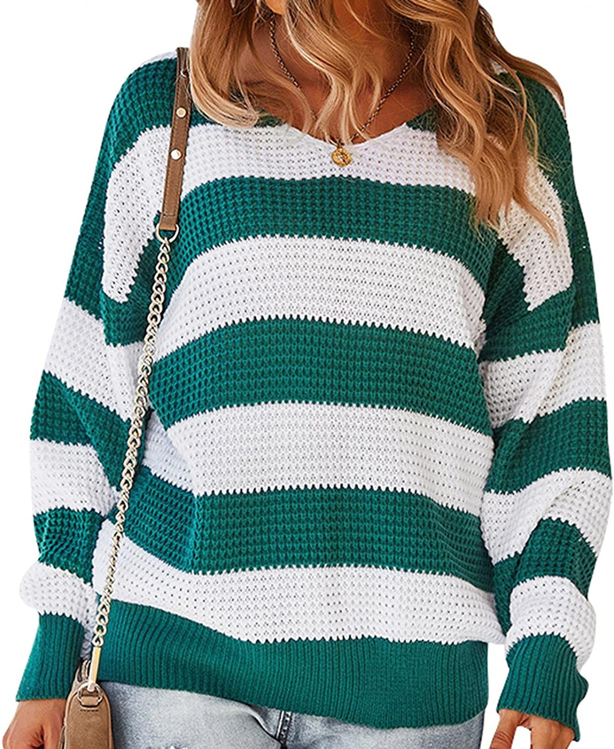 Women's Fall Long Sleeve Stripe Color Block Sweaters Casual Loose Fit V Neck Knitted Pullover Sweater Jumper Tops