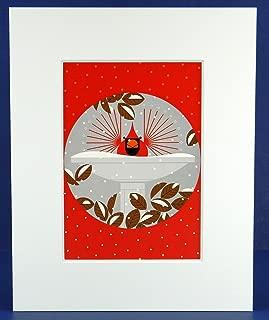 Charley Harper, B-r-r-r-r-rd Bath, Bird Bath, Birdbath, White Matted Litho Print, Large