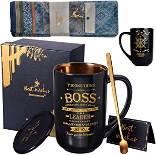 Biching Best Boss Mug - Birthday Gifts for Boss, Male Friends, Him, Dad, Uncle - Worlds Best Boss Farewell Gifts Large Por...