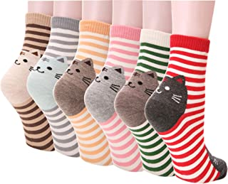 Girl Cartoon Animal Cute Casual Cotton Novelty Crew socks 6 packs-Gift Idea