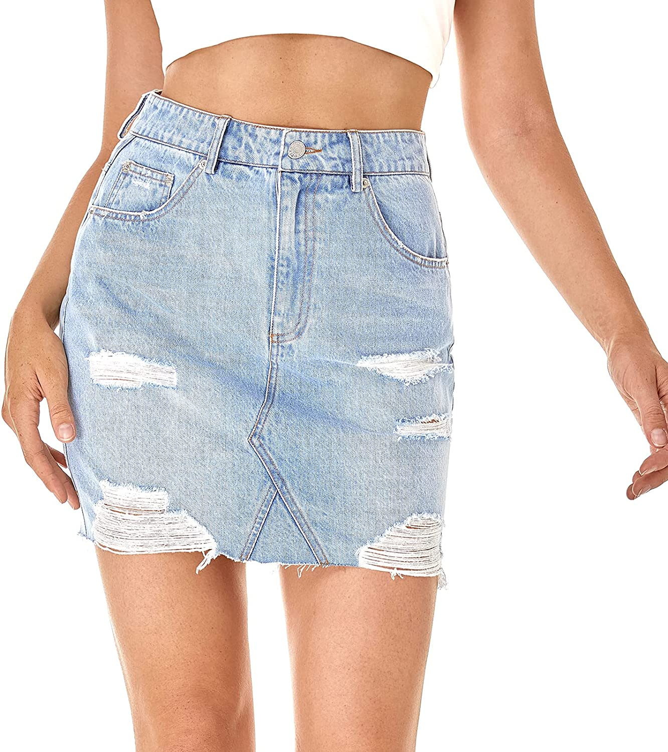 Cheryl Co Women's Casual Mid Waisted Washed Frayed Pockets Denim Jean Short Skirt