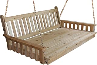 BEST HANGING PORCH SWING BED SWINGBED, 6' Cedar Swinging Daybed For Relaxing Moments, Fun 3 Person Seating For Patio Porches Pergola Furniture, Amish Made Deep Wood Swings, Cushion Not Included