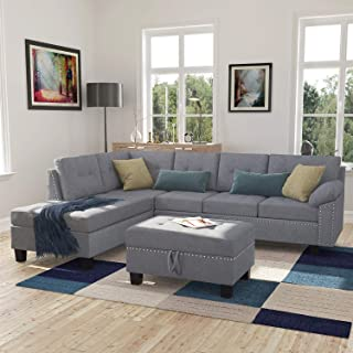 Harperu0026Bright Designs Sectional Sofa Set With Chaise Lounge And Storage  Ottoman Nail Head Detail (Grey