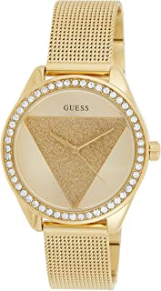 Guess W1142L1 Glitter-Detail Dial Strass Bezel Mesh Round Stainless Steel Analog Watch for Women