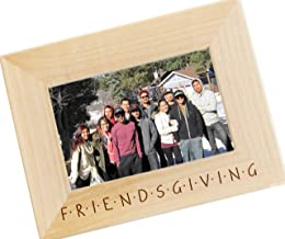 Engraved Friendsgiving Thanksgiving Feast Wood Picture Frame, Photo Frame for Friends Giving Dinner (5 x 7 Horizontal)