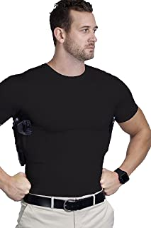 AC UNDERCOVER Concealed Carry Crew Neck Tshirt/CCW Tactical Clothing/Concealed Clothing REF. 511 (Black)