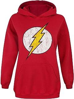 Flash - Sudadera Oficial con Logo de Estilo Desgastado para Mujer