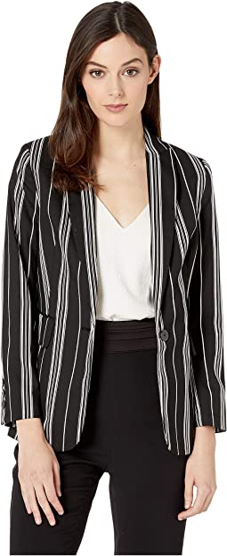 Black Stripe Notch Collar Blazer