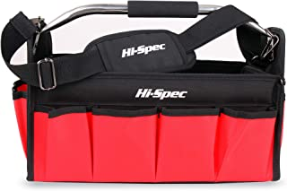 Hi-Spec 15-Inch Collapsible Open Top Tool Tote Bag with Waterproof Base, 17 Interior/Exterior Tool Slots, Shoulder Strap, Steel Handle, 600D Reinforced Material Technician Mechanic Tool Storage
