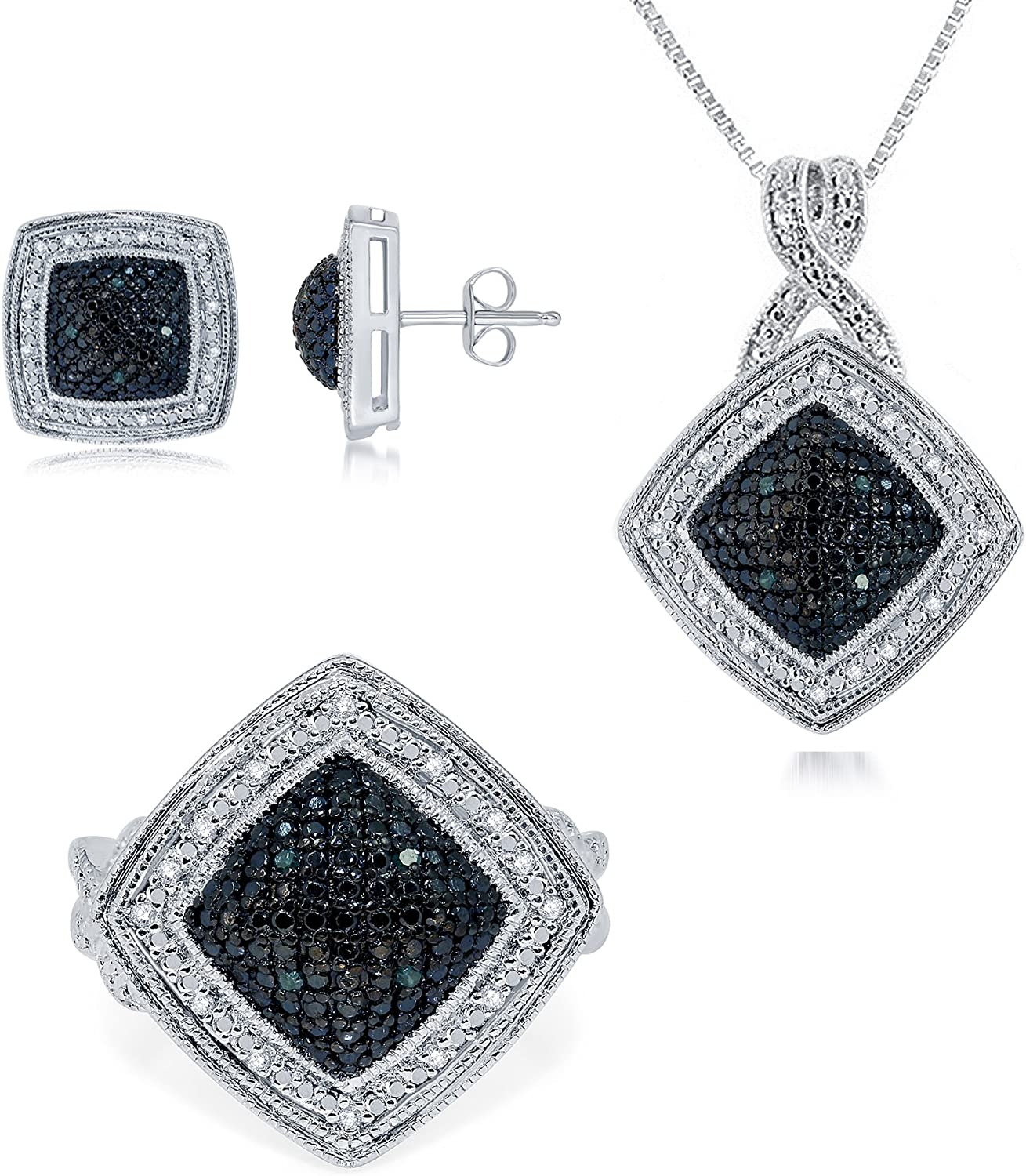 Classic Prong-Set Gold Rhodium Over Brass Blue and Diamond Accent 3 Piece Set Consists of Pendant Earring and Ring for Women Teen Girls Daily Wear Jewelry   by La4ve Diamonds  Gift Box Included