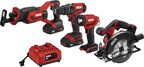 SKIL 20V 4-Tool Combo Kit: 20V Cordless Drill Driver, Reciprocating Saw, Circular Saw and Spotlight, Includes Two 2.0Ah Lithium Batteries and One Charger - CB739701