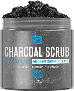 M3 Naturals Activated Charcoal Scrub Infused with Collagen and Stem Cell All Natural Body and Face Exfoliating Facial Wash Blackheads Acne Scars Pore Minimizer Exfoliator Anti Cellulite Skin Care