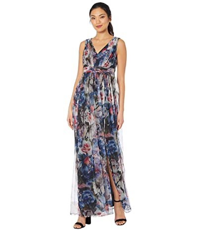 Adrianna Papell V-Neck Floral Tulle Ball Gown (Red/Blue Multi) Women