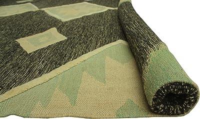 Noori Rug Handmade High-Low Kilim Nellie Charcoal/Beige Rug, 8'4 x 11'3