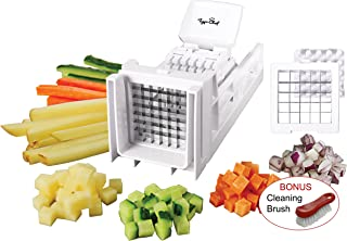 Tiger Chef French Fry Cutter and Vegetable Chopper - Easy Dicer With 2 Interchangeable Blades - Great for Potatoes, Onions, Carrots, Cucumbers and more (White)