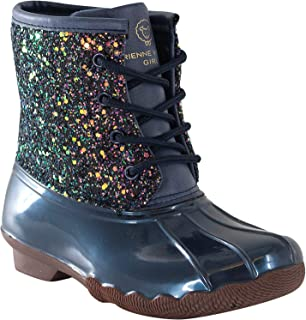 Jessica Carlyle Duck Girls and Boys Lace Up Two Tone Combat Style Rain Duck Boots