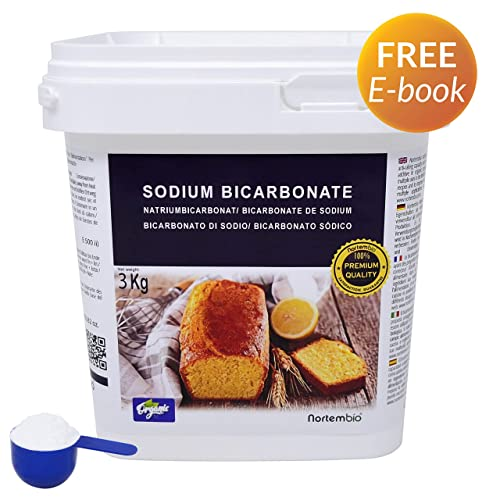 NortemBio Organic Bicarbonate of Soda 3 Kg. Baking Soda. Food Grade. Special for Cooking. Premium Quality. Developed in UK.