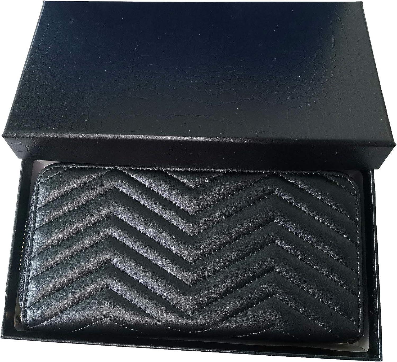 Designer Wristlet Wallet for Women Genuine Leather Clutch Purse Black