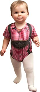 Lederhosen Dry Fit Adult 3-D Realistic Baby Bodysuit with Faux Red Checkered Pattern / Essence of Europe Gifts E.H.G