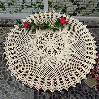 kilofly Handmade Crochet Cotton Lace Table Sofa Doily, Waterlily, Beige, 22 inch