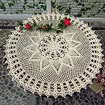 kilofly Handmade Crochet Cotton Lace Table Sofa Doily, Waterlily, Beige, 22 inch