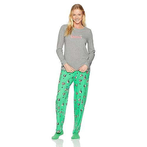 e967108ba5 HUE Women s Printed Knit Tee and Pant 3 Piece Pajama Set