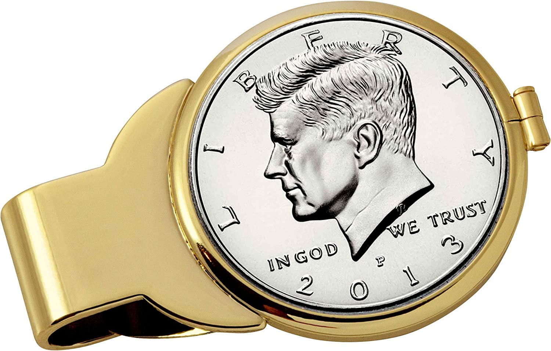Proof JFK Half Dollar Goldtone Money Clip
