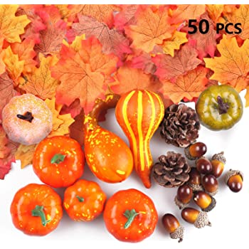 Assorted Fake Fall Maple Leaves Mini Pumpkin Gourd Pine Cones And Acorns for Halloween Thanksgiving Autumn Festive Party Decor Supplies Welwoon 96 Pieces Artificial Harvest Pumpkins Decoration Set