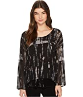 Printed Woven Top w/ Sequin Detail at Hem