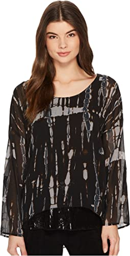 Tribal - Printed Woven Top w/ Sequin Detail at Hem