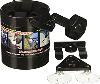 Liquid Caddy Black Beverage Cup Holder, Attaches Almost Anywhere, Works on Boats, Bikes, Ice Shacks, Lawn Chairs, ATV, Golf Bag, Camping, Canoe, Treestand, for Water, Coffee, Beer, Soda - LCBK