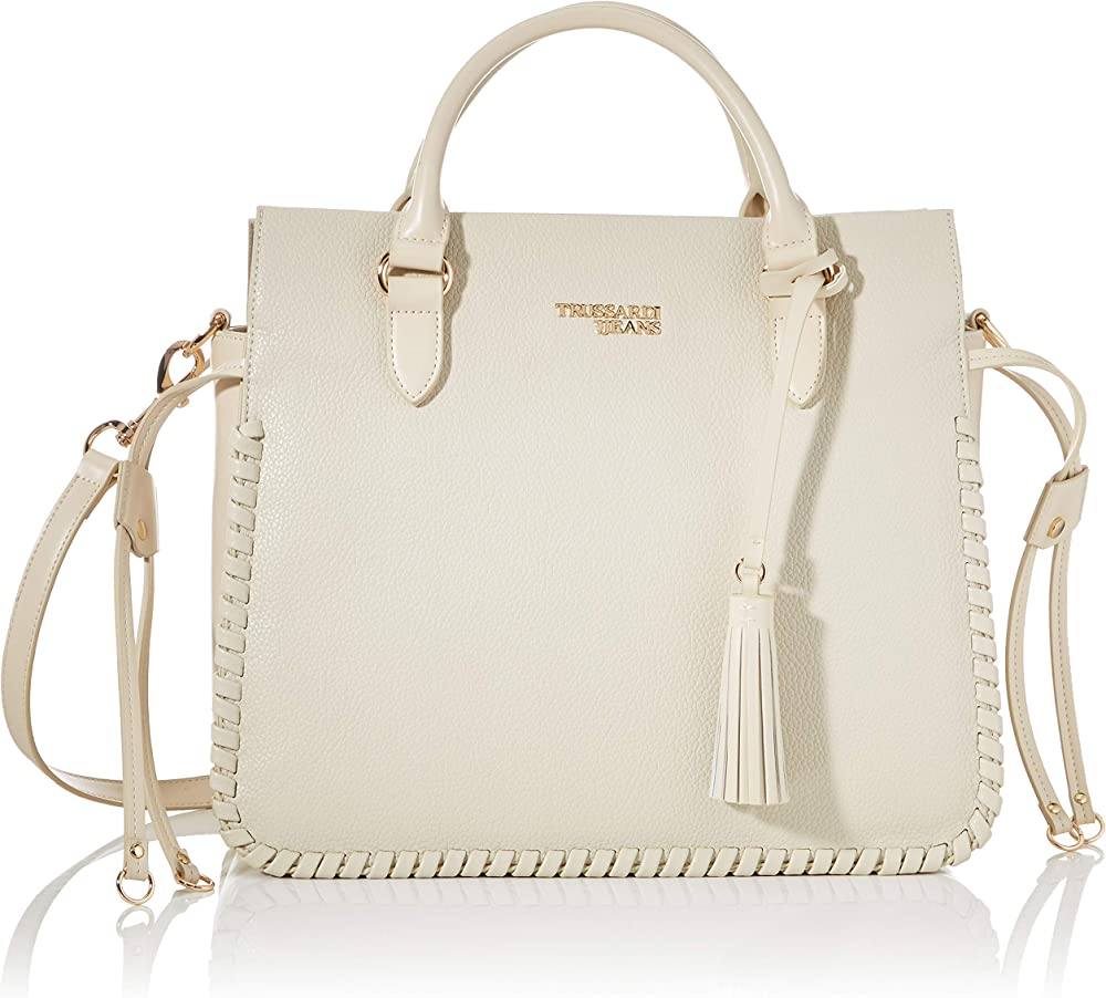 Trussardi jeans, amanda handle md grained and s ,borsa a mano per donna,in ecopelle effetto martellato 75B009359Y099999