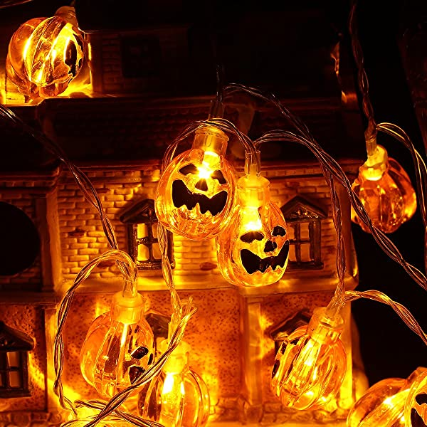 YUNLIGHTS Halloween Pumpkin String Lights 13ft 30 LEDs 3D Jack O Lantern Pumpkin Lights With Remote Control 8 Lightning Modes Battery Operated Outdoor Indoor Party Holiday Halloween Decoration Warm