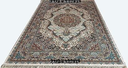 FAIZ CARPET Hand Knotted Silk Carpet Traditional Oriental Medallion Irani Design Handmade Area Rugs 2 Feet by 5 Feet Color Ivory Multi.