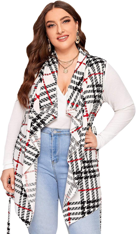 Romwe Women's Plus Size Tribal Print Sleeveless Waterfall Open Front Cardigan Vest