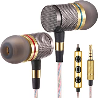 Betron YSM1000 Headphones, Earbuds, High Definition, in-Ear, Noise Isolating, Heavy Deep Bass for Apple iPhone, iPod, iPad, Samsung Cell Phones and Smartphones (Gold with Microphone)